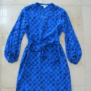 DVF Silk Long Sleeve Dress. Size 4